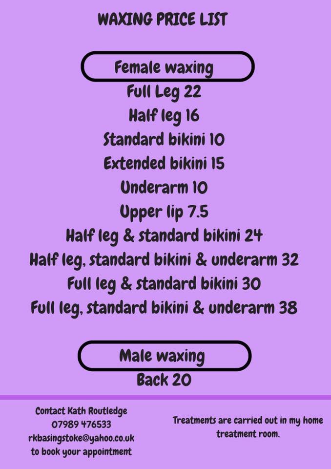 waxing price list